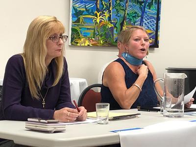 Republican Nancy Colwell and Democrat Sarah Pebworth