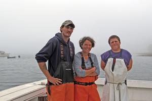 The crew of the lobster boat Earnest