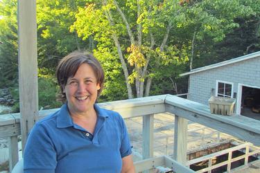 Leslie Ross takes a break outside