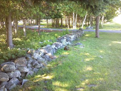 A stone wall in Castine