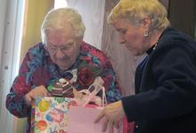 Grange member receives gifts and goodies