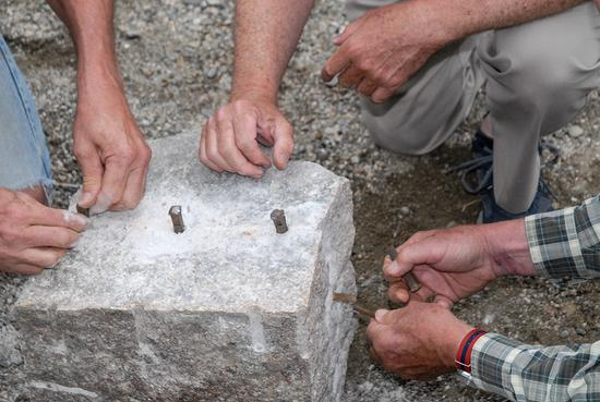 Cutting granite with hand tools