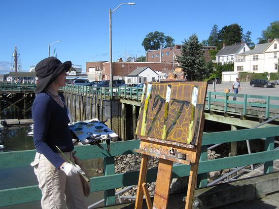 An artist at work during the 2013 Castine Plein Air Festival