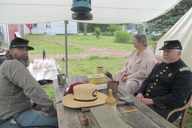 Members of Company B, 20th Maine Volunteer Infantry Regiment occupy Deer Isle