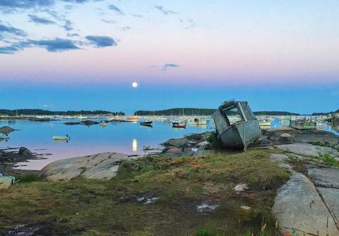 Full moon over Stonington Harbor
