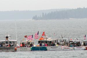 Tied up and lined up at the Stonington Lobster Boat Races