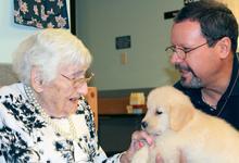 Puppy love at Island Nursing Home