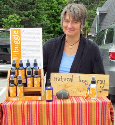 Buggleblue pest repellent for sale at the Stonington Farmer's Market