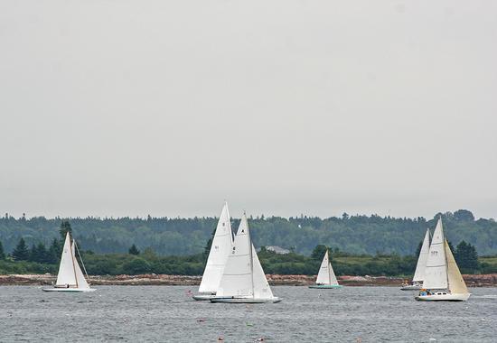A fleet of vintage yachts sail through the Reach