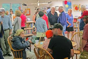 A library open house crowd