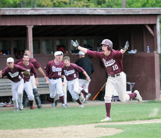The Eagle's McMahon-Allwine scores a run against Mattanawcook