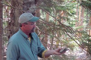 Geologist George Fields on John B. Mountain in Brooksville, Maine