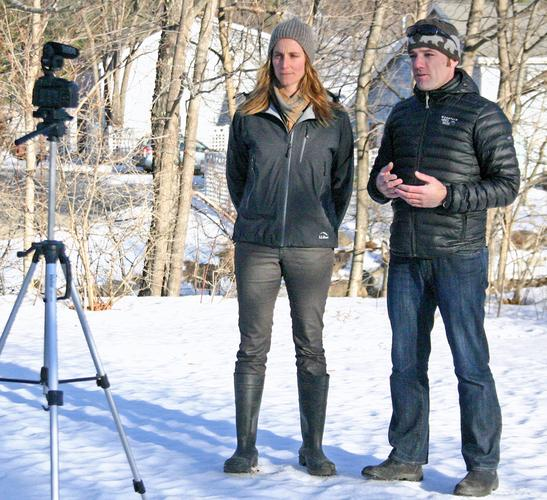 Abigail Barrows of Blue Hill's MERI records an instructional video with Mike Kautz