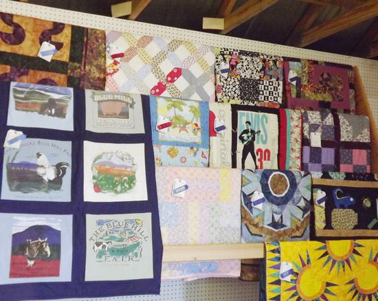 A display of quilts