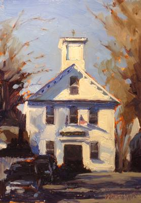 """Adams School in Castine"", 5"" x 7"" oil by Dan Graziano"