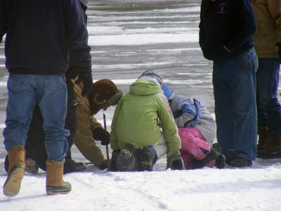 Kids check out a trap during the 2010 Slim's Fishing Derby