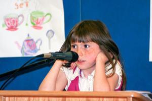 Penobscot student Emma Ferden reads a haiku