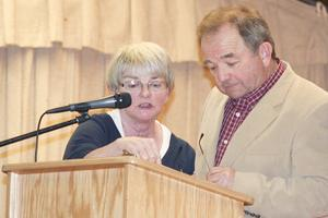 Town Clerk Mary Ellen Gross and moderator Sherm Hutchins prepare for Penobscot town meeting on March