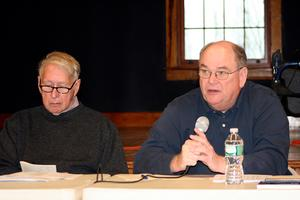 David Unger and Dale Abernethy at the Castine Town meeting