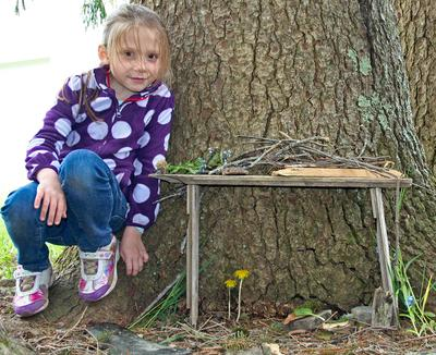 Creating a fairy house at Adams School