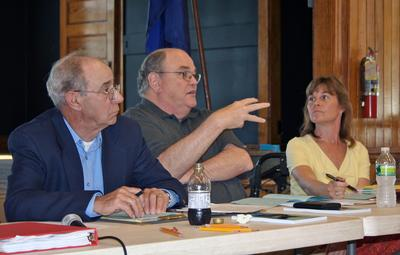 Peter Vogell, Dale Abernethy and Karen Motycka at Castine Town Meeting