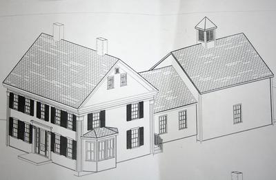 Drawings show the 26 x 26 foot addition to the rear of the Grindle House