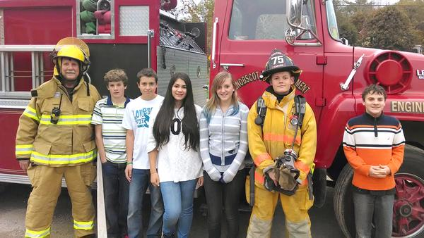 Penobscot students check out Penobscot Fire Department trucks