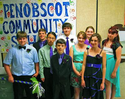 The graduating class at the Penobscot Community School
