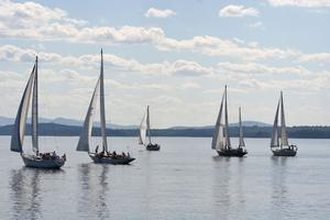 Retired Skippers Race sets out past the Castine Harbor Bell buoy