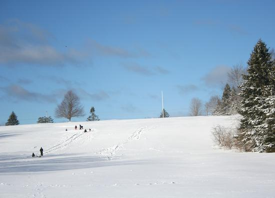 Great sledding on the Castine golf course