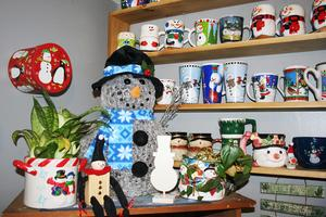 Becky Bunker of Penobscot owns many snowmen