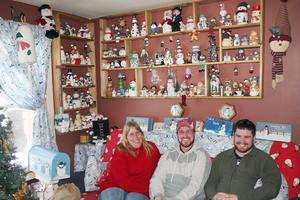 Becky Bunker of Penobscot has an extensive collection of snowmen