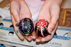 Pysanky eggs displayed at Adams School Art Fest