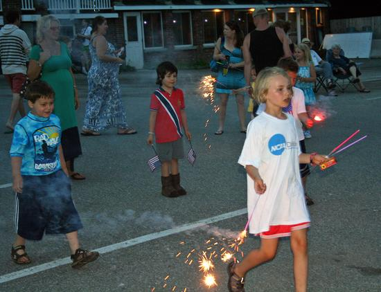 Taylor Evans gets ready for the Castine fireworks