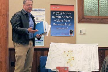 Engineer Bill Lane explains site plan at Castine Planning Board