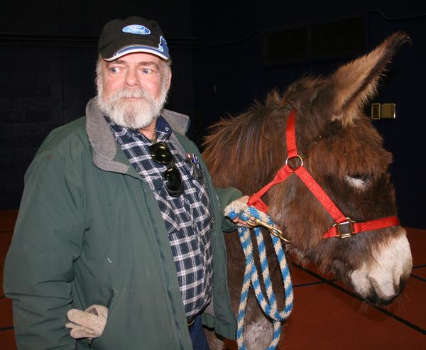Myron Staples brought his ten-year-old burro Jethro