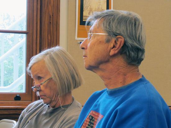 Sue MacDonald and Bob Friedlander listen at the public hearing on Castine's zoning