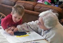 Art works across the generations at Island Nursing Home