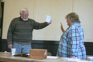 Swearing in at the Isle au Haut town meeting