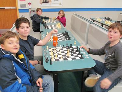 Andrew Wendell takes a break from the chess-a-thon