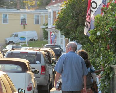 Shoppers and visitors walked downtown Stonington