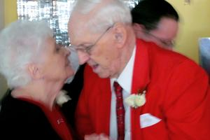 husband and wife  Shirley and Dan Danielson help celebrate