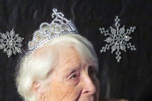 Muriel Saindon wears a mink stole