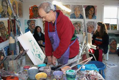 Stonington artist Jon Imber at work