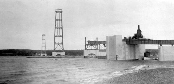 The Deer Isle-Sedgwick bridge under construction, 1938