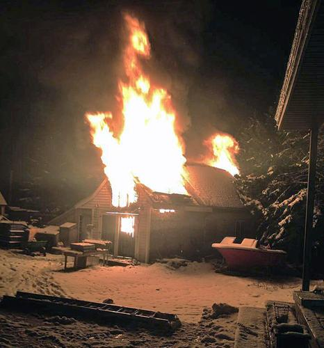 A fire destroys shop on Moose Island in Stonington