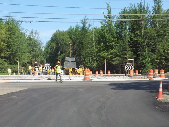 Blue Hill roundabout gets paved