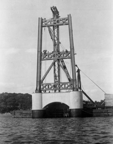 The Mainland side tower being raised