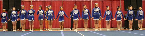The Deer Isle-Stonington Mariner cheerleading squad
