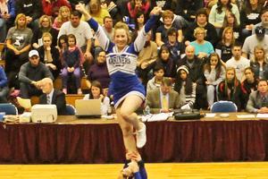 DISHS cheerleaders in the air